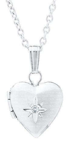 Kiddie Kraft Sterling Silver and Diamond Heart Locket