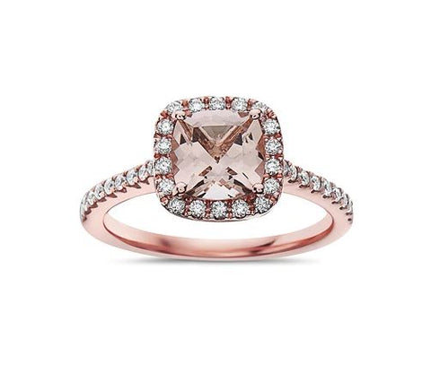 14 Rose Gold Halo Style Cushion Morganite Ring