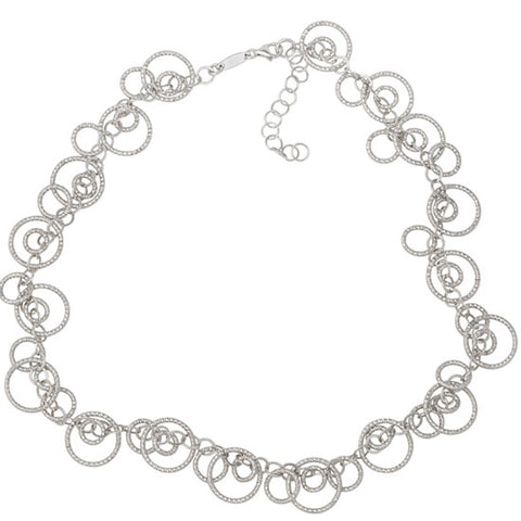 Frederic Duclos Sterling Silver Diamond Cut Circles Necklace