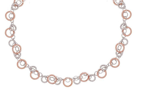 Frederic Duclos Sterling Silver Rose Gold Plated Circulation Necklace