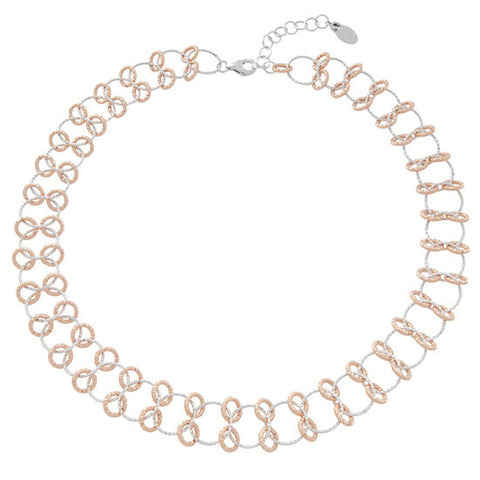 Frederic Duclos Sterling Silver d Diamond Cut Interlinking Circles Necklace
