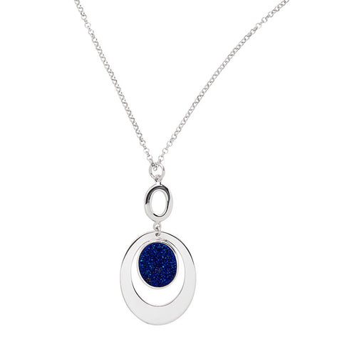 Frederic Duclos Sterling Silver Drusy Oval Necklace