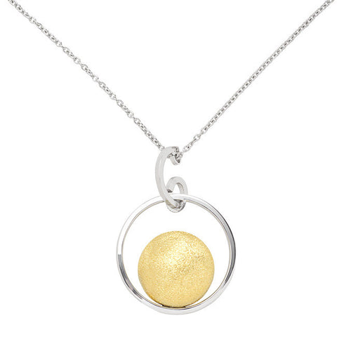 Frederic Duclos Sterling Silver Two Tone Circle Pendant on a 20 Inch Chain