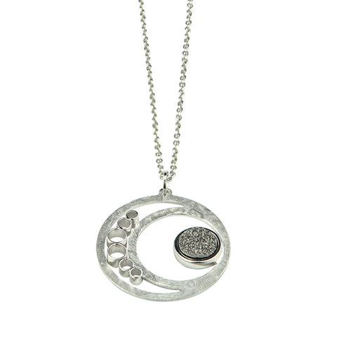 Frederic Duclos Sterling Silver Cutout Circle Pendant With Lightening Drusy Quartz.
