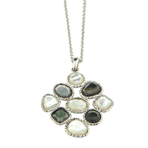 "Frederic Duclos Sterling Silver Black and White Bezel Set Mother of Pearl Necklace on an Adjustable 16-18"" Chain."