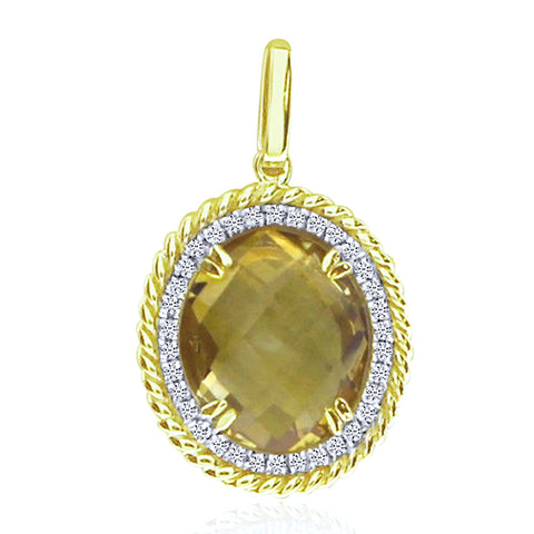 Brevani Oval Citrine and Diamonds Braided Fashion Pendant p3435-11