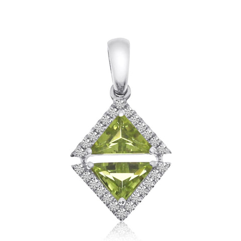 Brevani Peridot and Diamond Semi Precious Triangle Fashion Pendant P3887W-08