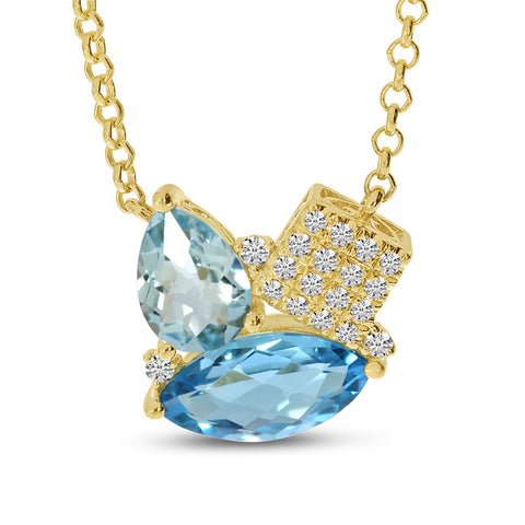 Brevani Blue Topaz Duo Pear and Marquise with Diamonds Pendant P4233-18-12
