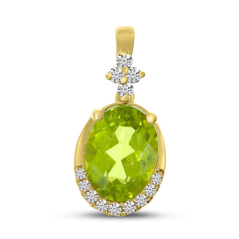 Brevani Oval Peridot and Diamond Pendant P4252-08