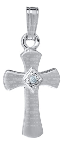 Kiddie Kraft Sterling Silver Cross Diamond Necklace