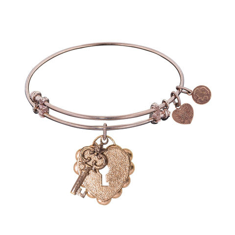 Women's Angelica Pink Brass Expandable Bracelet Heart With Key Charm PGEL1216