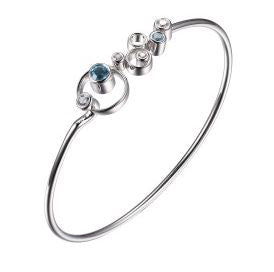 ELLE Sterling Silver and Blue Topaz Bangle