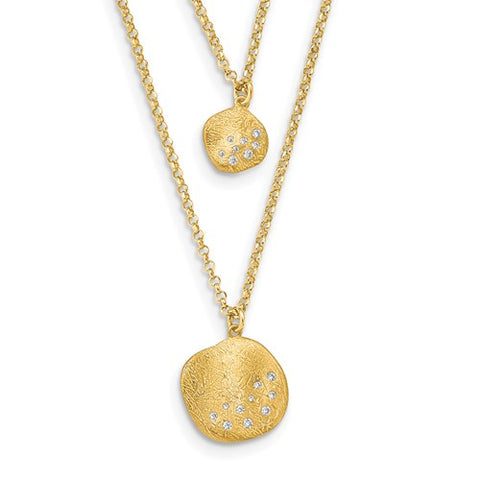Leslie's  Sterling Silver Radiant Essence Double Strand Yellow Tone Disc Pendants with CZs