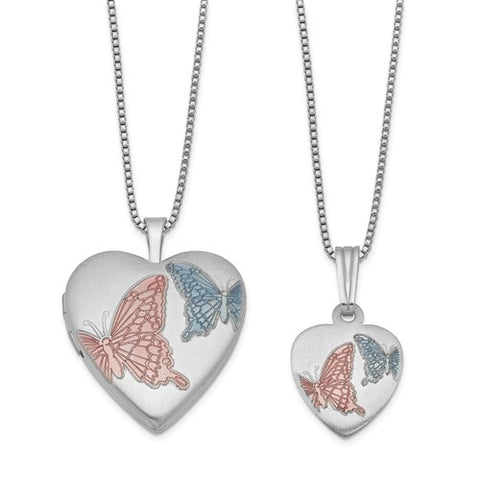 Sweetheart Collection Butterflies Heart Locket And Pendant set Mommy and Daughter