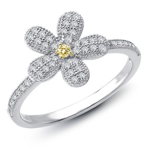 Lafonn Sterling Silver Bonded with Platinum Flower Ring that Holds 0.60 Carats of Lafonn's Signature 100 Facet Lassaire Simulated Yellow and Clear Diamonds.