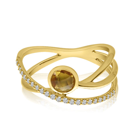Brevani Bezel Citrine Criss Cross Fashion Ring RM3908-11