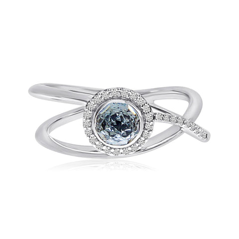 Brevani Round Bezel Sky Blue Topaz Diamond Halo Fashion Ring RM3910W-12