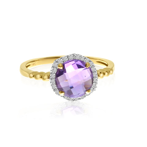 Brevani Round Amethyst and Diamond Beaded Band Fashion Ring RM3954-02