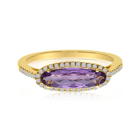 Brevani Elongated Oval Amethyst and Diamond Fashion Ring RM3969-02