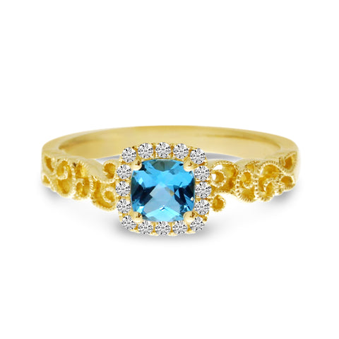 Brevani Cushion Blue Topaz Diamond Halo Ring RM4140-12