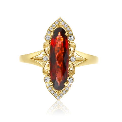 Brevani Oval Garnet North South Ring RM4141-01