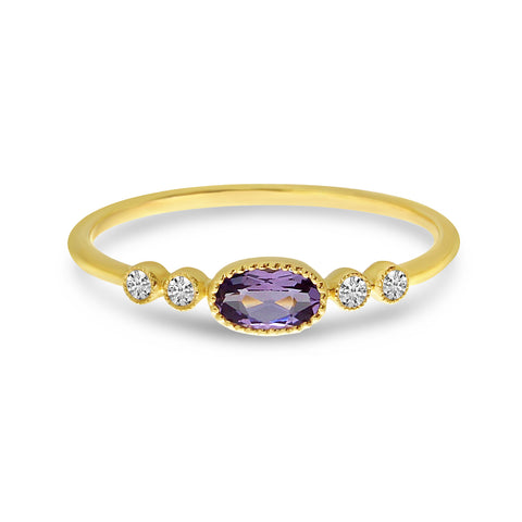 Brevani Oval Amethyst and Diamond Dainty Ring RM4145-02