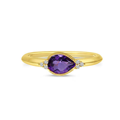 Brevani Pear Amethyst East West Ring RM4158-02