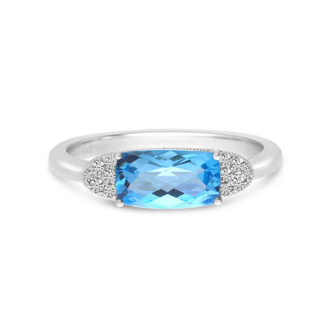 Brevani Elongated Cushion Blue Topaz and Diamond East West Ring RM4159W-12
