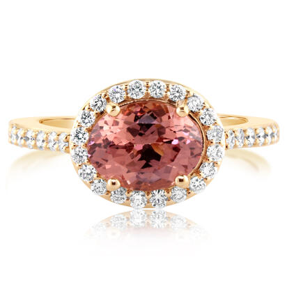 Parle 14K Rose Gold Lotus Garnet/Diamond Ring