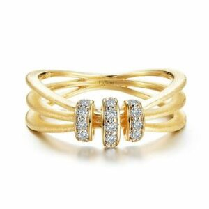 Lafonn Gold Plated Brushed Split Fashion Ring with Simulated Diamonds