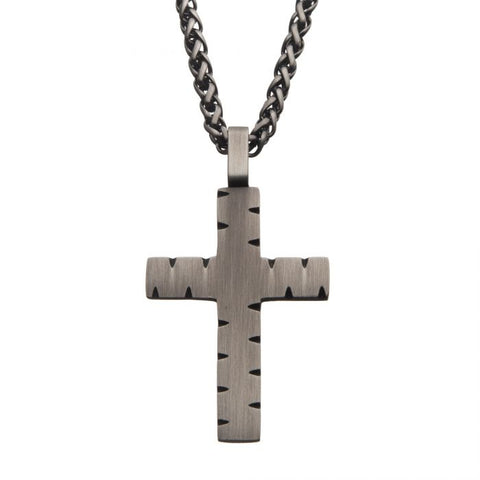 Stainless Steel & Gun Metal IP Chiseled Cross Pendant with Gun Metal IP Chain
