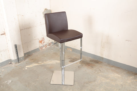 brown faux leather adjustable barstool with chrome base 102
