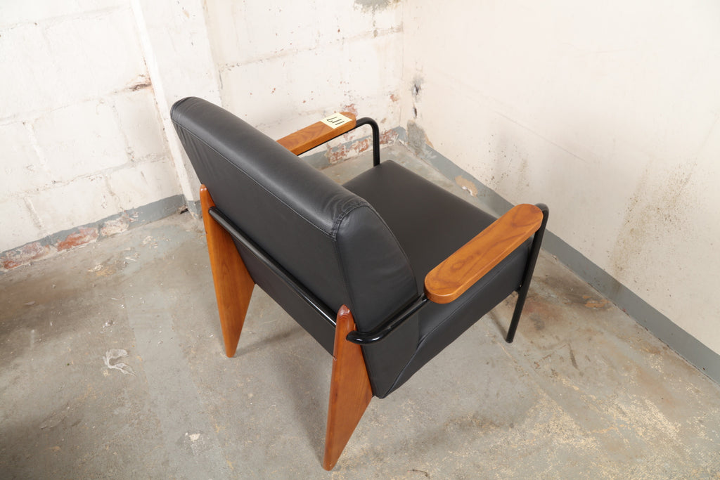 wood arm leather seating accent lounge chair in black 117 open crate