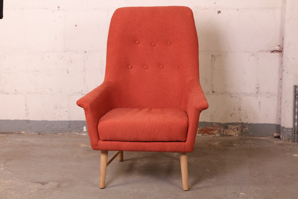 Burnt Orange Fabric Lounge Chair #135