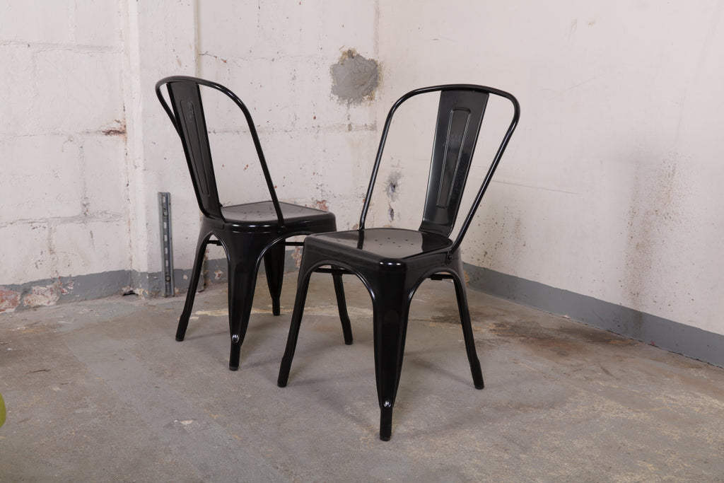Set Of Tolix Black Side Chairs #158