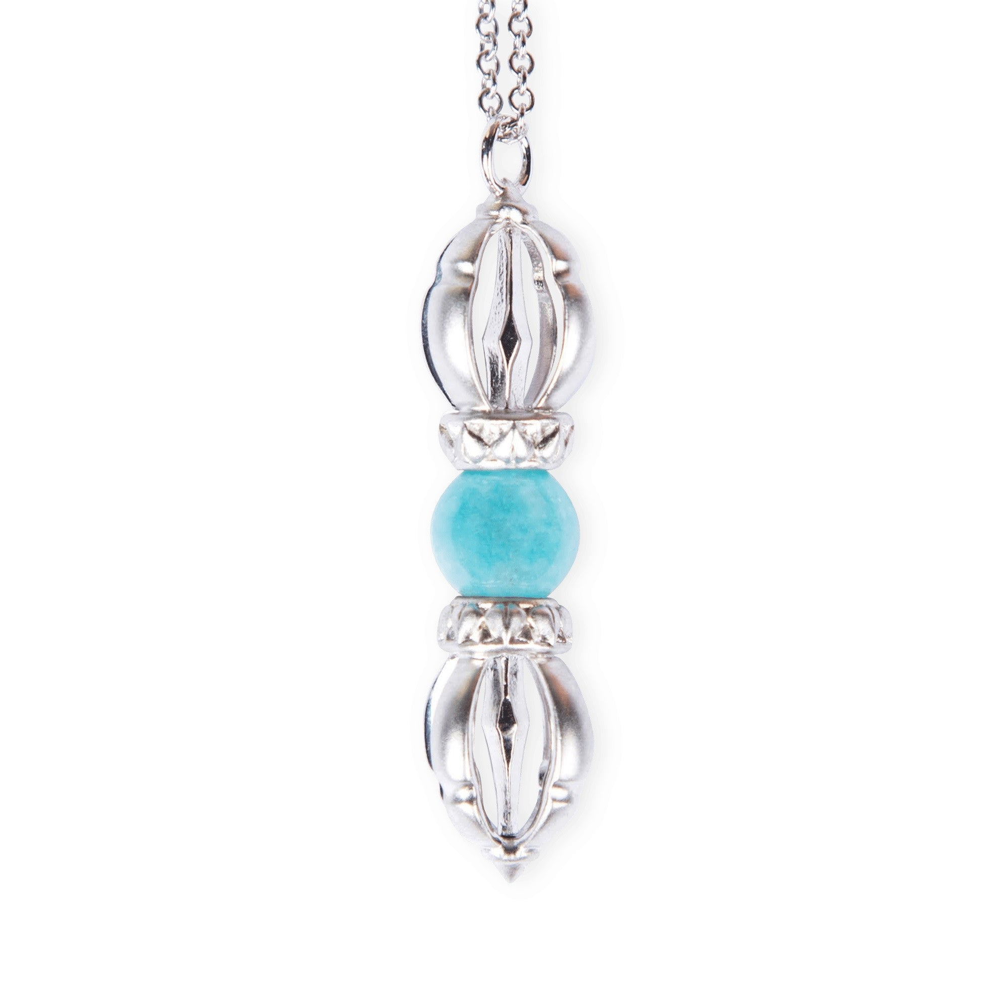 The white gold Silatha Aquamarine Dorje to grow flow, relief, reasoning and calm. Paired with a meditation course.