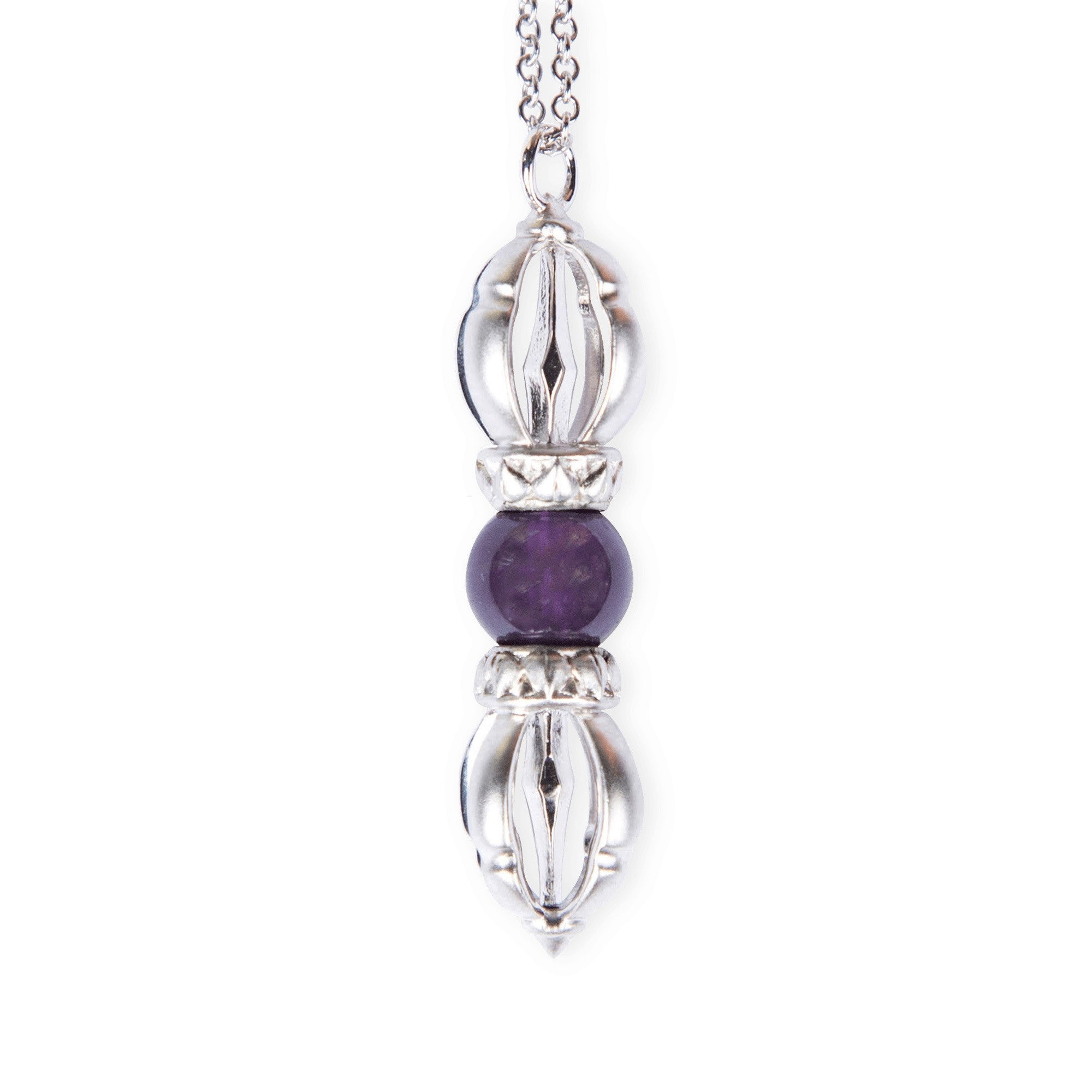 The Silatha Amethyst Dorje in white gold for more peace, balance, patience and spirituality. Paired with a meditation course.