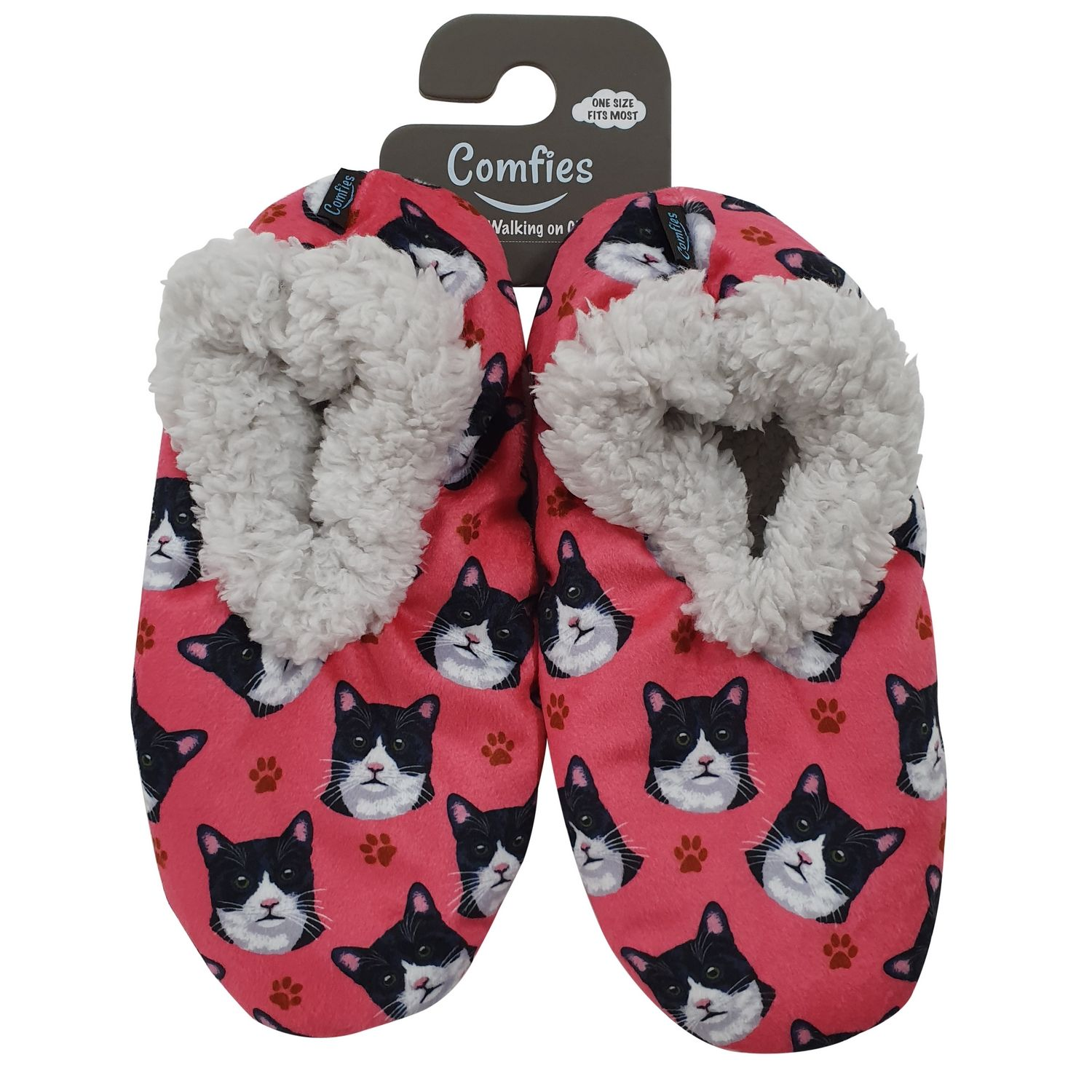 Comfies Slippers Black White Cat