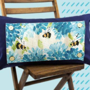 Bees Blue Hydrangeas Pillow Swap