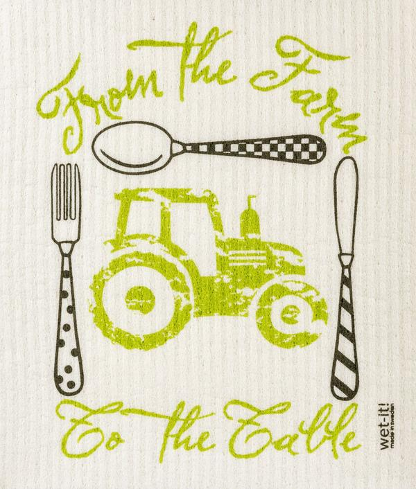 Tractor From The Farm To The Table Swedish Wet-It Kitchen Cloth