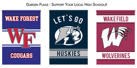 School Spirit Double Sided Wakefield, Wake Forest, Heritage Garden Flags