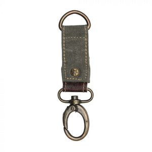 Myra Keychain Leather and Canvas Sage Green Key Fob