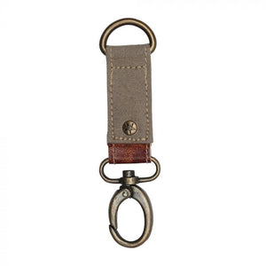 Myra Keychain Leather and Canvas Hazelwood Key Fob