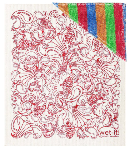 Paisley Red Swedish Wet-It Kitchen Scrub Cloth