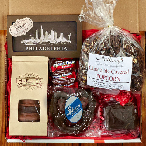 pa gift basket of chocolate items