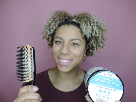 Denman brush and Coconut Cream Souffle Thick Curly Hair Washngo
