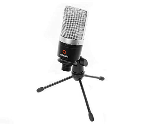 "Artesia AMC-10 Cardioid Condenser Microphone w/ Pop Filter, 8"" XLR Cable and Tripod Stand"