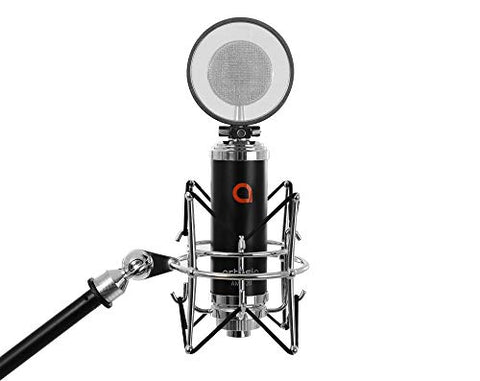 Artesia AMC-20 Studio Large-Diaphragm Condenser Microphone w/Shock Mount + Pop Filter & 8' XLR Cable