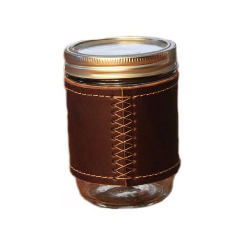 Holdster Leather Canning Jar Travel Mug 16oz. (Mason Jar Included) Stitch Without Handle - The Perfect Drinking Vessel - Made in the USA
