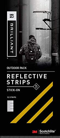Brilliant Reflective Outdoor Reflector Tape: Adhesive Sticker Strips for Gear. Made from 3M Scotchlite Reflective Safety Material - Washable and Waterproof - Pack of 10 Stickers (Gold)